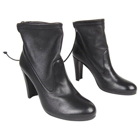 Stuart Weitzman Black Leather Mitten Ankle Boots - USA 8.5