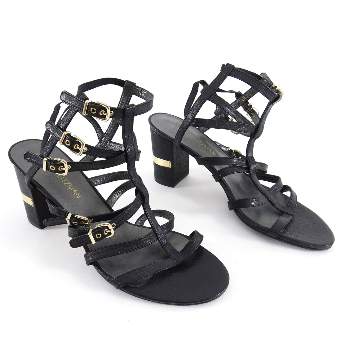 Stuart Wetizman Black Chariot Cage Buckle Sandals - USA 9.5