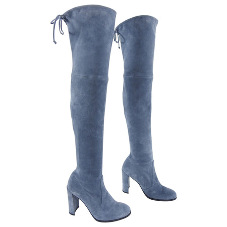 Stuart Weitzman Steel Blue Suede Tieland Over the Knee Boots - 8