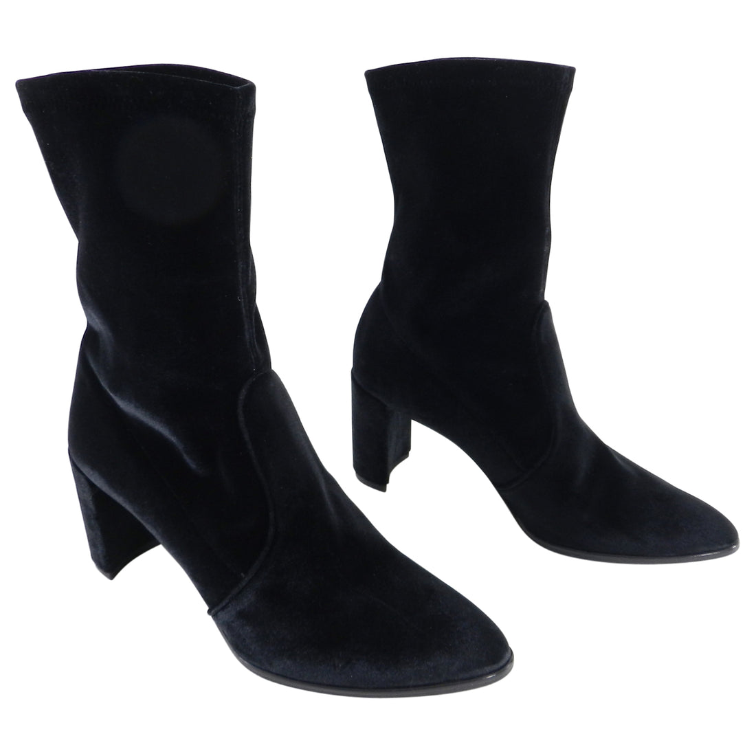 Stuart Weitzman Black Stretch Velvet Prancer Ankle Boots - 7.5