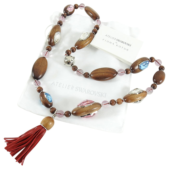 Atelier Swarovski x Fiona Kotur Walnut Wood Crystal Bead Necklace