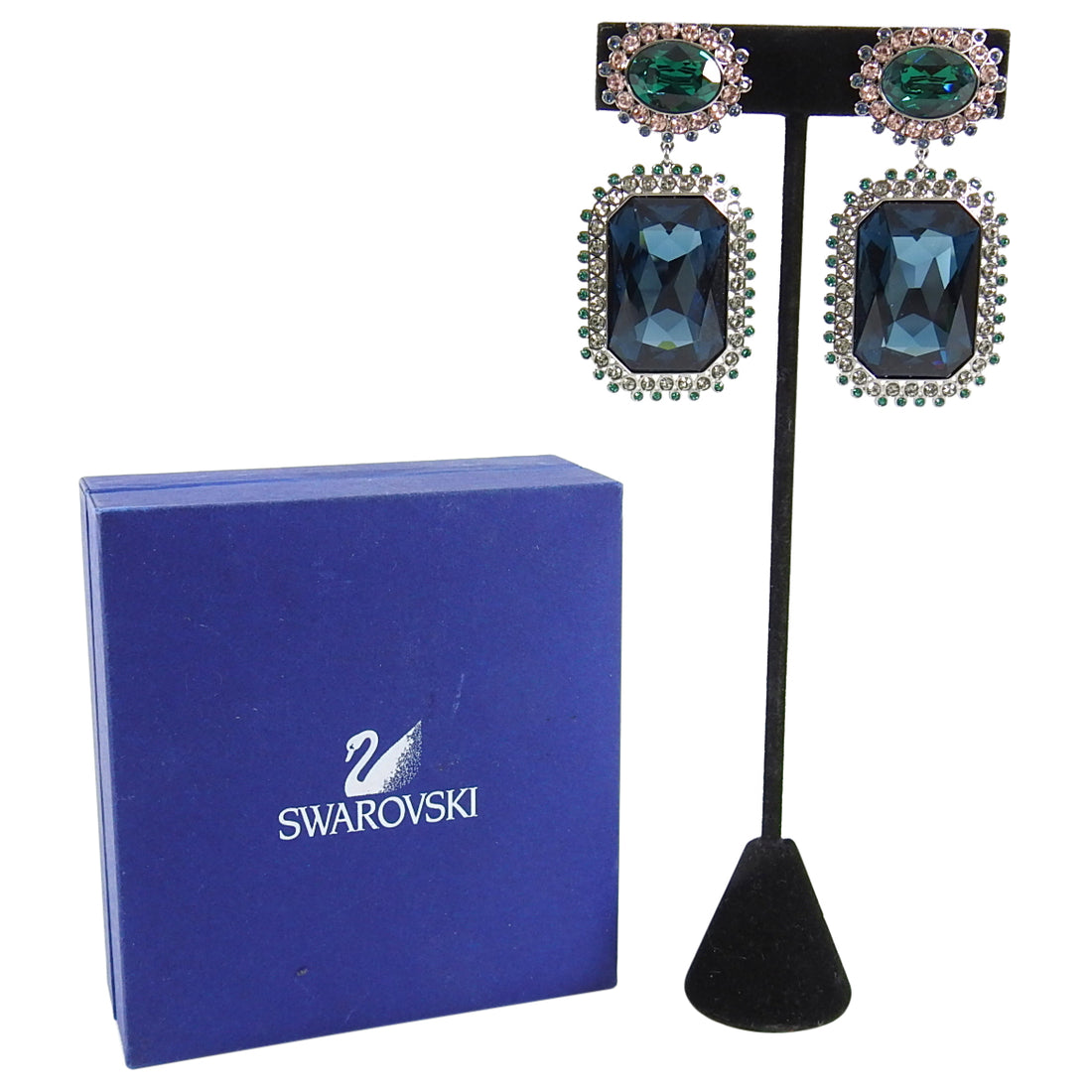 Swarovski Blue and Green Crystal Large Statement Earrings