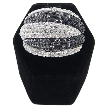 Swarovski Appolon Black and Clear Rhinestone Cocktail Ring - 6