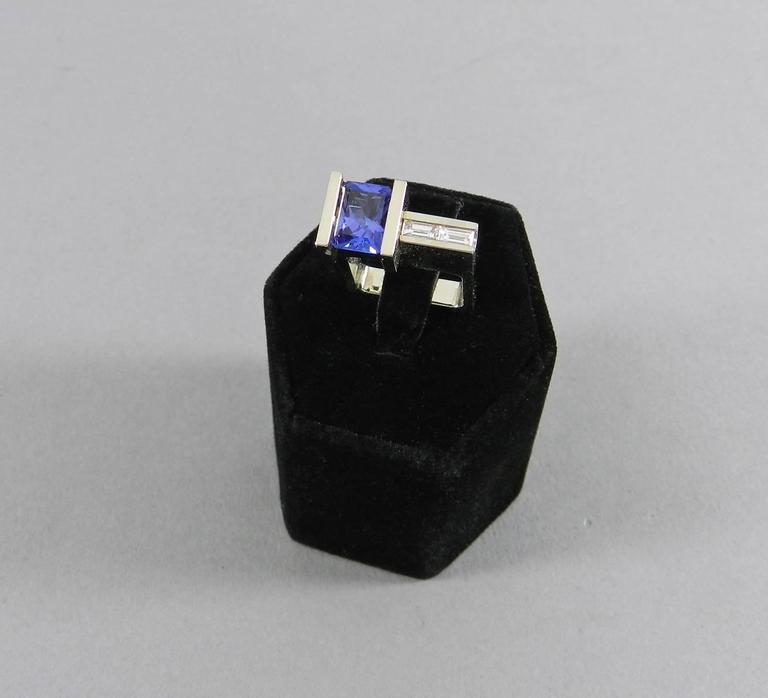 Trisko Modernist Abstract White Gold Tanzanite and Diamond Ring