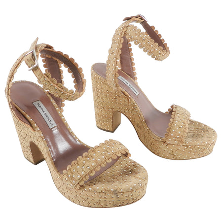 Tabitha Simmons Natural Cork Perforated Harlow Platform Sandals - 40
