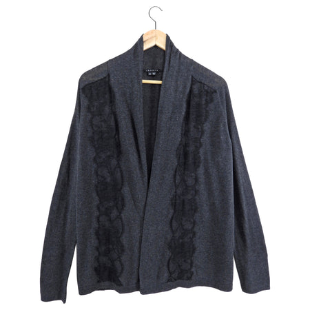 Theory Dark Charcoal Grey Lace Trim Cardigan - M