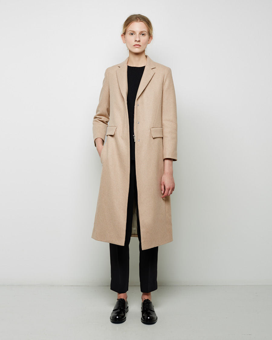 "The Row ""Jackson"" Light Camel Color Long Wool Coat - 8"
