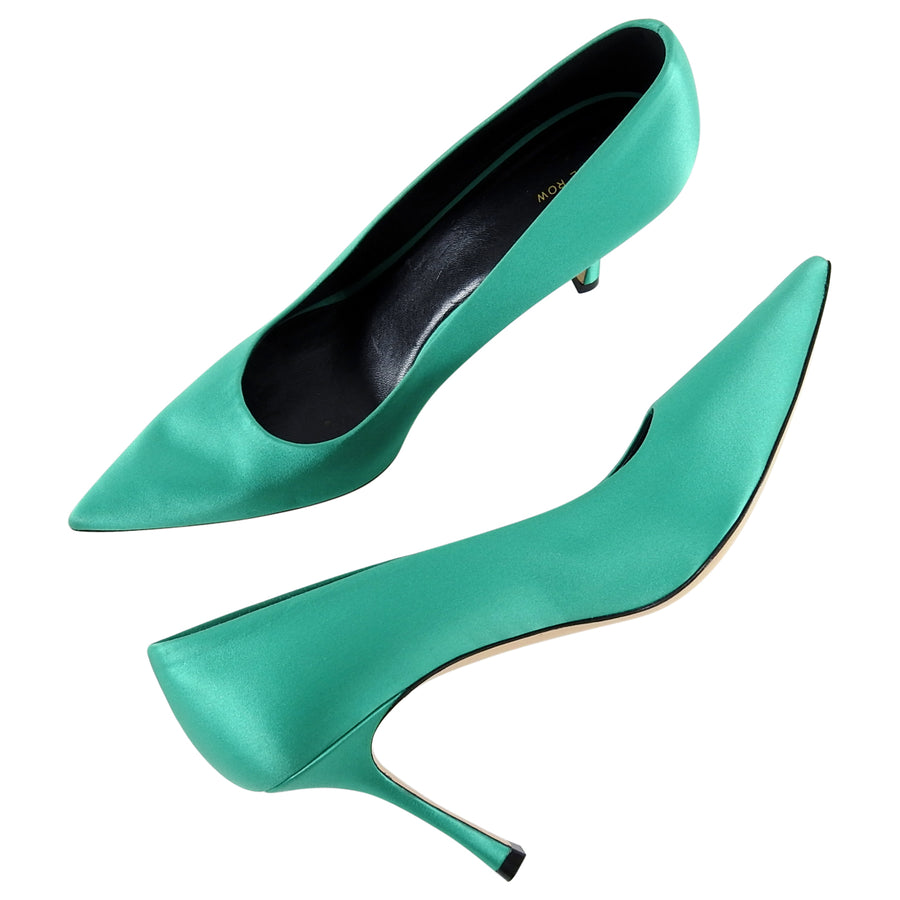 The Row Aloe Green Satin Pumps Shoes - 41