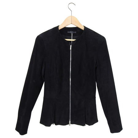 The Row Black Suede Zip Front Anasta Fitted Jacket - 6 / 8