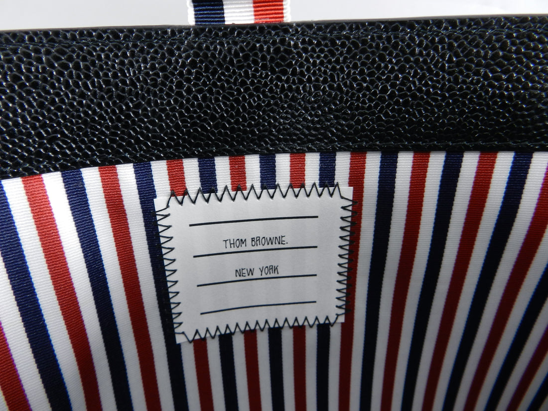 Thom Browne New York Black Leather Flat Portfolio / Clutch Bag