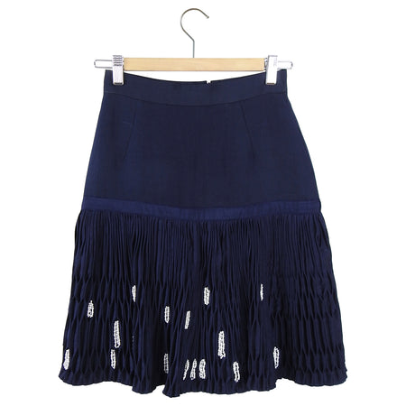 Thom Browne Navy Blue Silk Pin-tucked Skirt With Pearl Detail - XS / 2