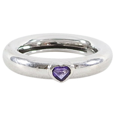 Tiffany 18k White Gold Vintage 1993 Amethyst Heart Ring - 5.75