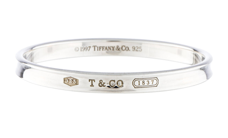 419292010 Sterling Silver 1837 Oval Bangle Bracelet; Tiffany and Co. Sterling Silver  1837 Oval Bangle Bracelet ...