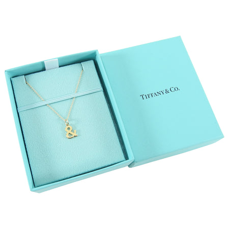 Tiffany & Co 18K Gold Ampersand Pendant Necklace