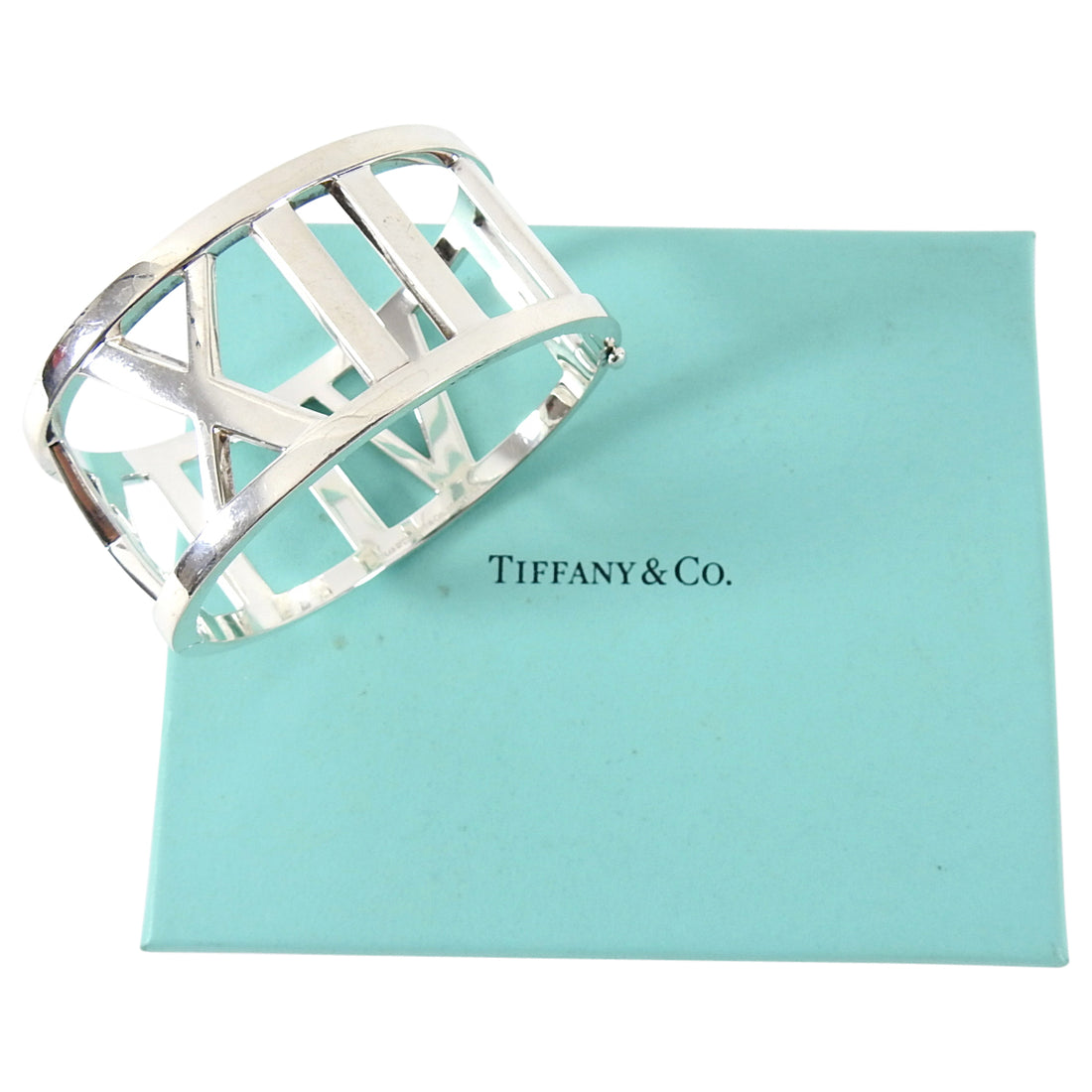 Tiffany and Co. Vintage 2003 Sterling Silver Wide Atlas Cuff Hinged Bracelet