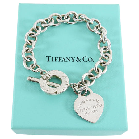 Tiffany and Co. Sterling Silver Heart Toggle Chain Bracelet
