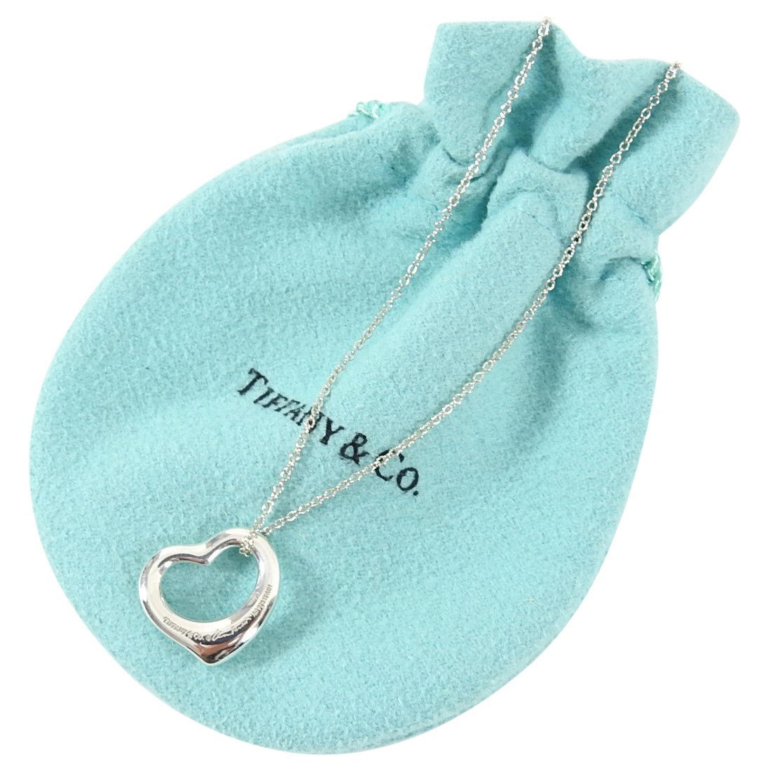Tiffany and Co. Elsa Peretti Sterling Silver Open Heart Pendant Necklace