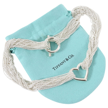 Tiffany and Co. Sterling Silver Multi Mesh Chain Heart Toggle Necklace