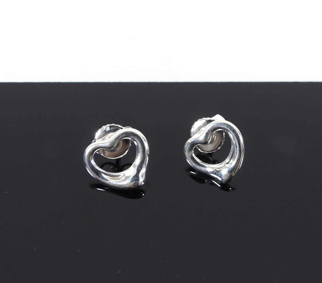 Tiffany and Co. Sterling Silver Elsa Peretti Heart Earrings