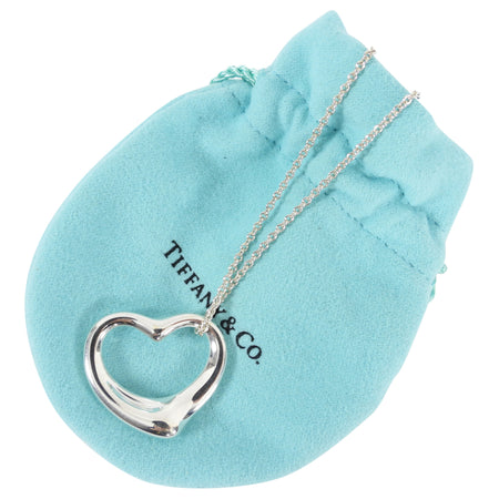 Tiffany and Co.  Sterling Silver Large Elsa Peretti Open Heart Necklace