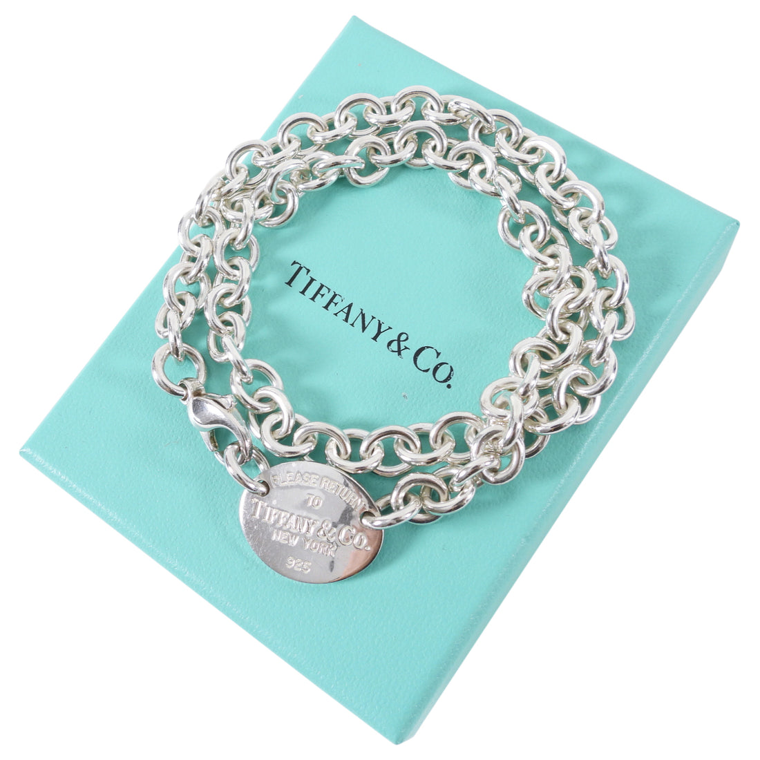Tiffany & Co. Sterling Silver Oval Tag Return to Tiffany Necklace