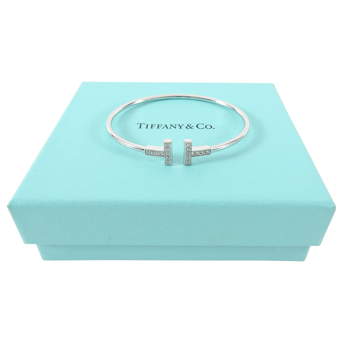 Tiffany T Wire 18k White Gold and Diamond Small Bracelet