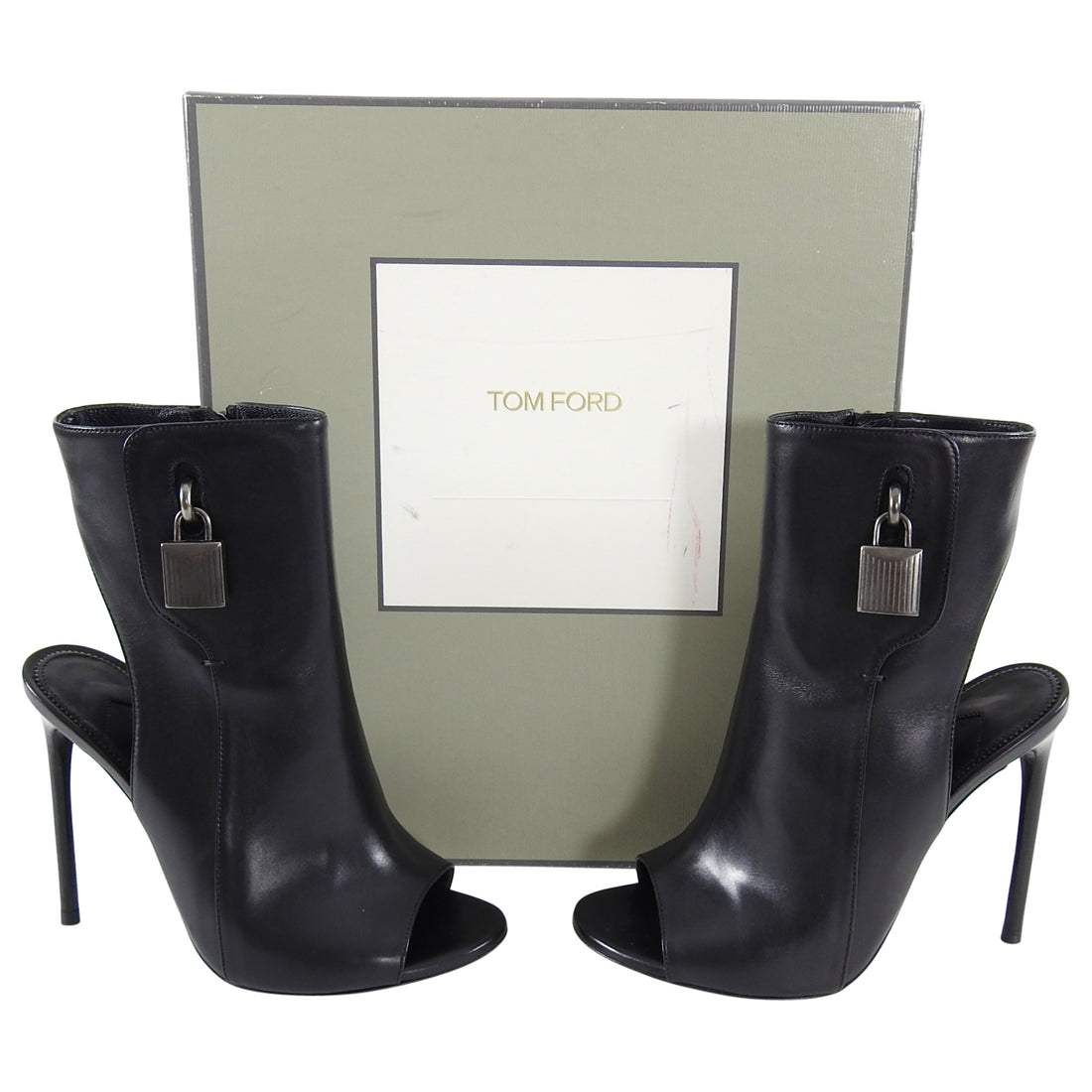 Tom Ford Black Leather Padlock Open Toe and Heel Booties - 36.5