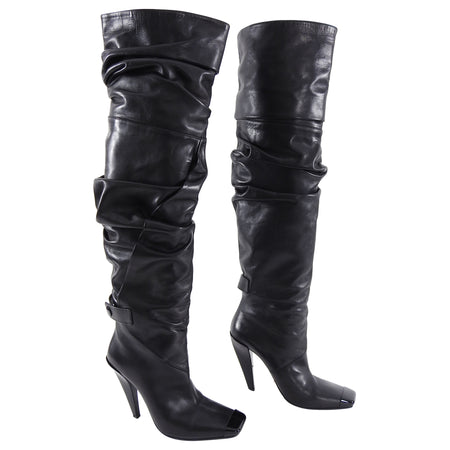 Tom Ford Black Over the Knee Black Leather Boots  - 40.5