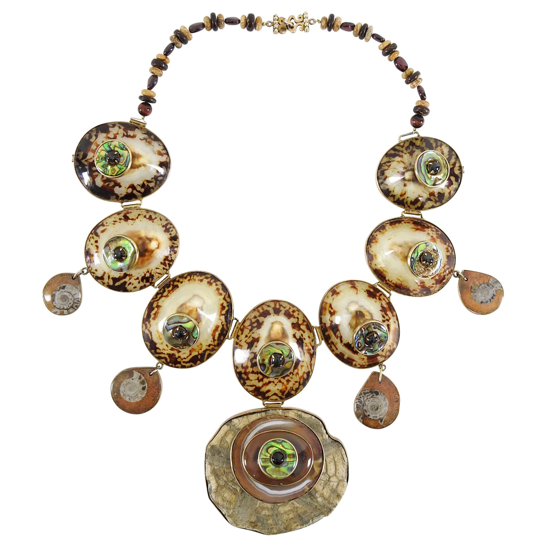 Tony Duquette 1999 Talisman Bib Necklace in Box - Ammonite and Shells