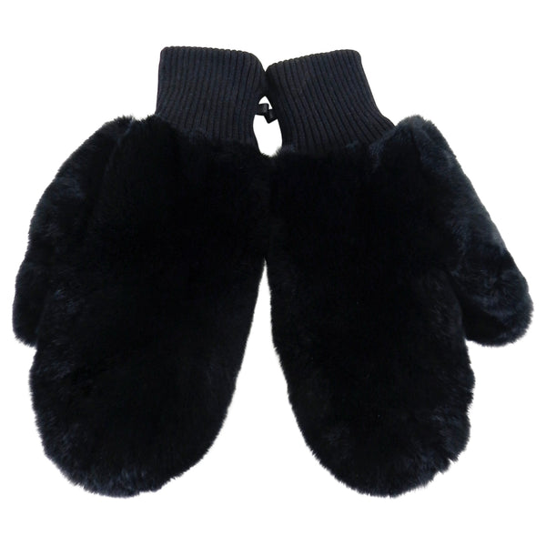 Tory Burch Black Rabbit Fur Mittens - New With Tags