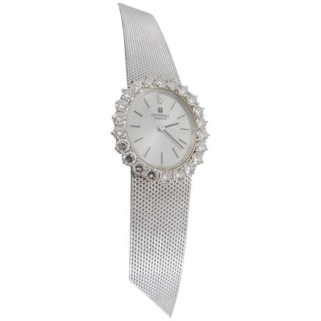 1960s Universal Geneve 18k White Gold Diamond Wristwatch