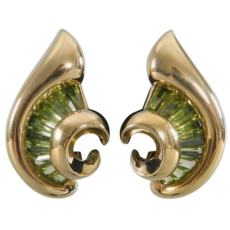 Verdura Green Tourmaline Gold Swirl Clip Earrings