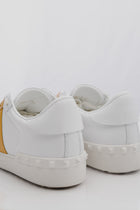 Valentino Bicolor Rockstud Sneaker in Bianco White and Acid Yellow
