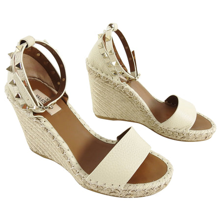 Valentino Ivory Rock Stud Ankle Strap Espadrille Wedge Sandals - 38