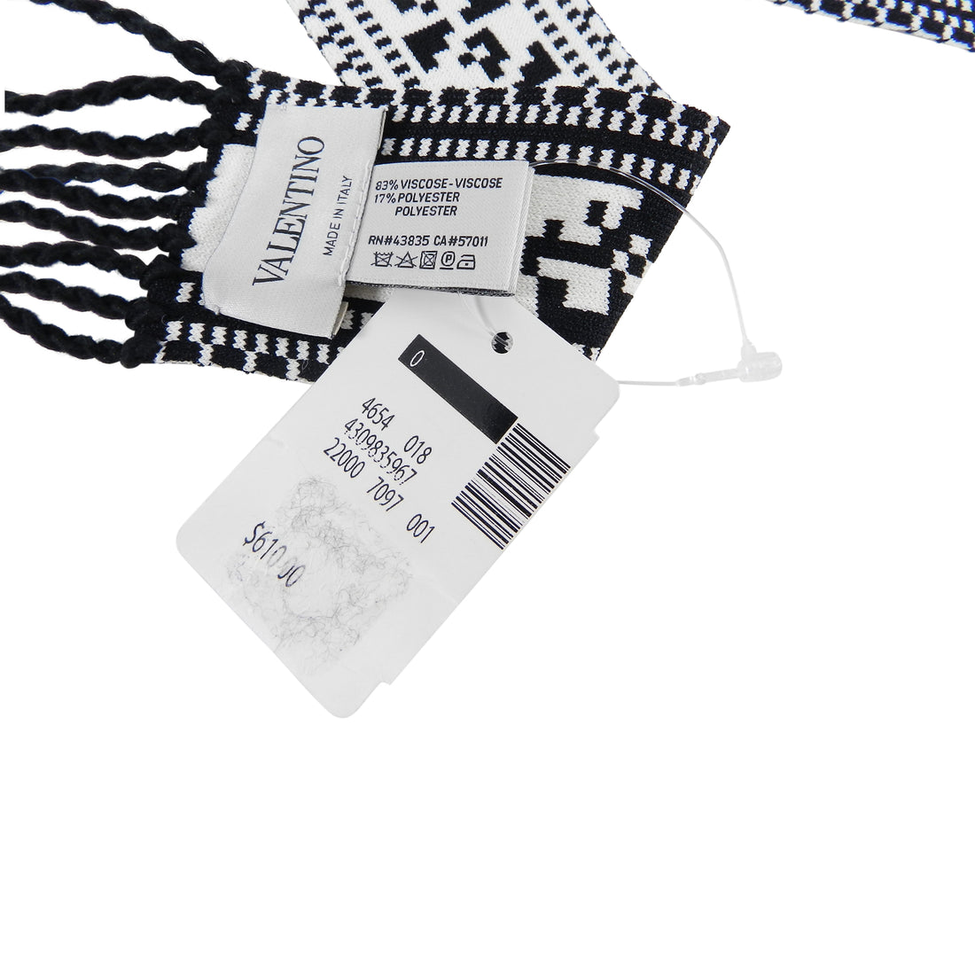 Valentino VLTN Black and White Knit Thin Bandeau Scarf / Belt