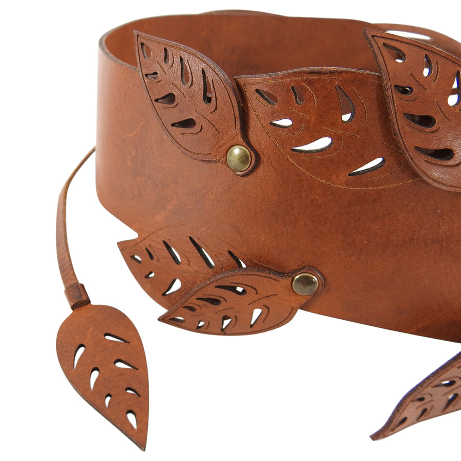 Valentino Wide Brown Perforated Leather Belt with Green Scarab - M
