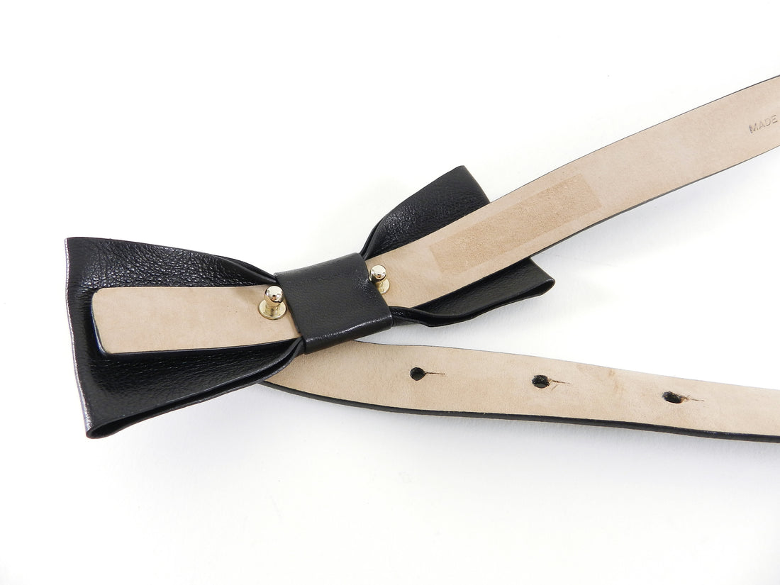 Valentino Skinny Black Leather Bow Belt