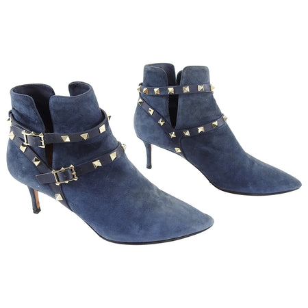 Valentino Navy Suede Rock Stud Double Strap Ankle Boots - 38