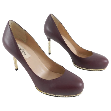 Valentino Dark Plum Pumps with Gold Rock Stud Heel - 36.5
