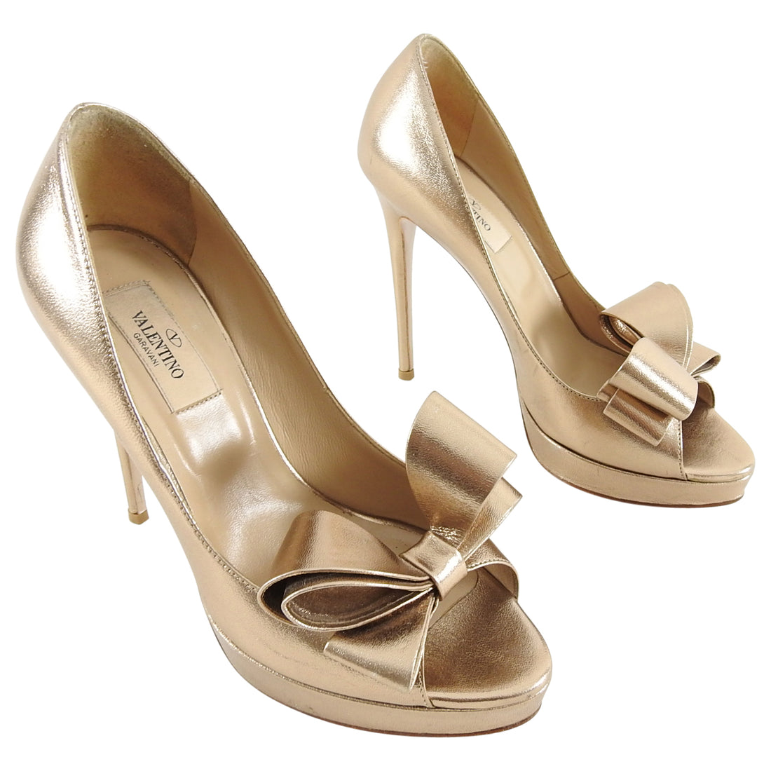 Valentino Metallic Gold Peep Toe Bow Platform Pumps - 38