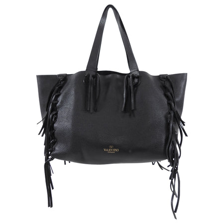 Valentino C-Rockee Leather Fringe Tote Bag