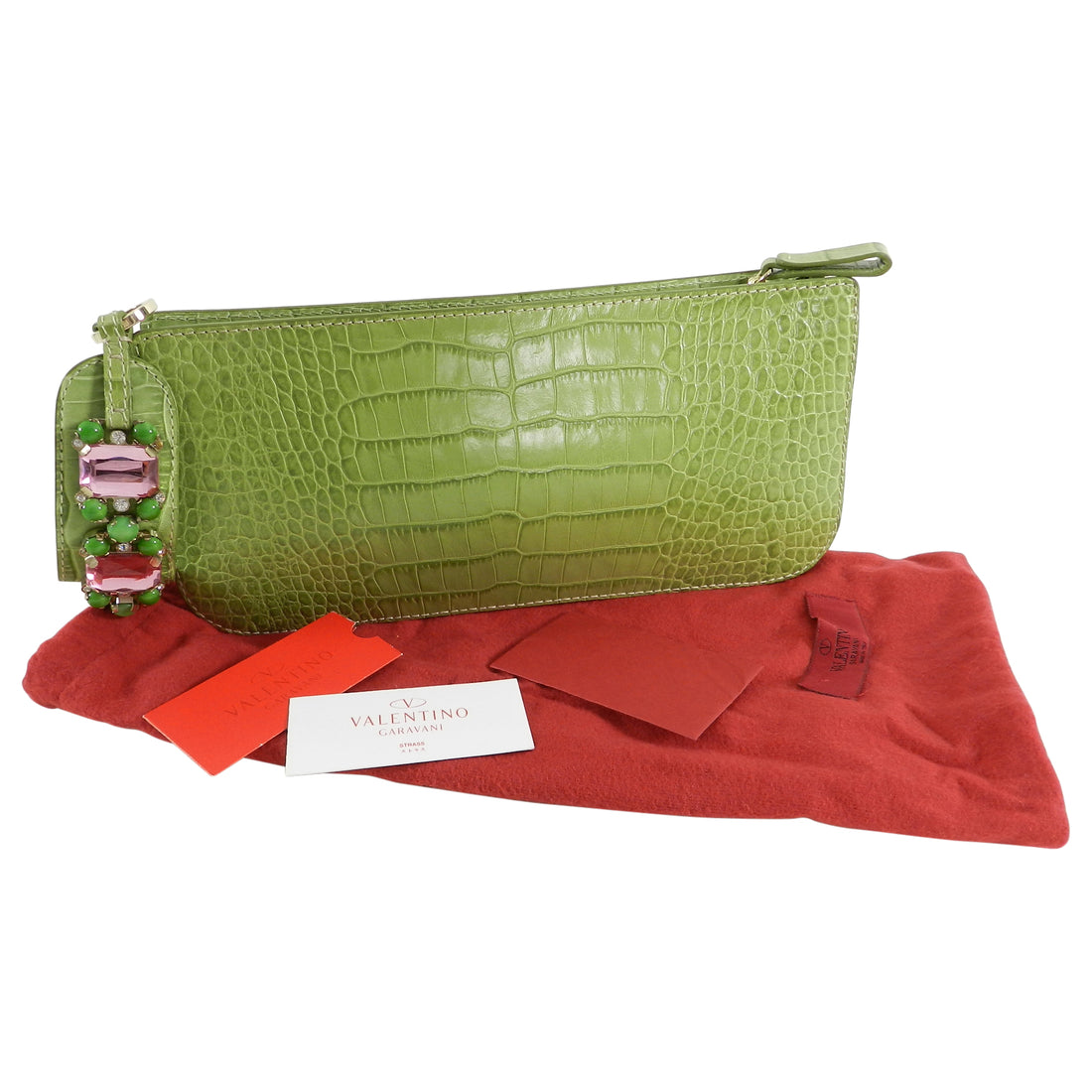 Valentino Green Croc Embossed Leather Jewel Wristlet Bag