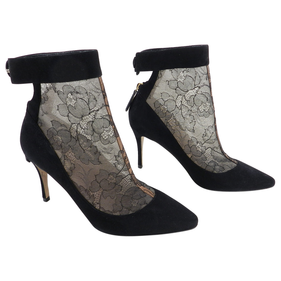 Valentino Black Suede and Lace Inset Ankle Booties - 40