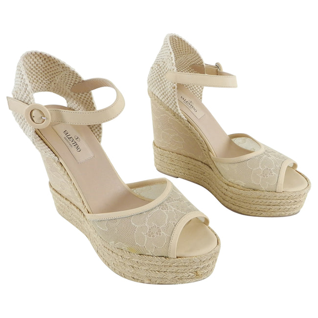 Valentino Beige Lace Espadrille Wedge Sandals - 39