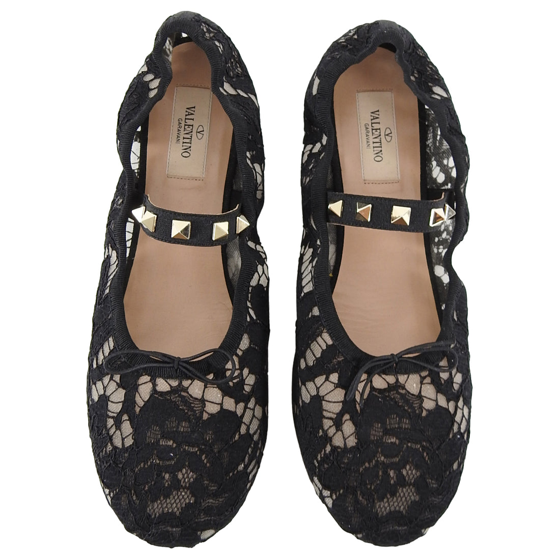 Valentino Black Lace Rock Stud Ballet Flat Shoes - 38