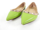 Valentino Lime Green Leather Rock Stud Flats - 37