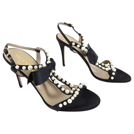 Valentino Black Silk Satin Bow Sandals Heels with Pearls - 37.5 (USA 7)