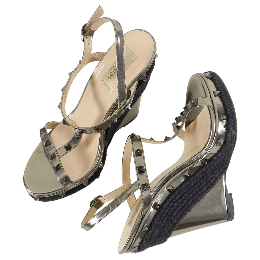 Valentino Pewter Rockstud Wedge Espadrille Shoes – 40