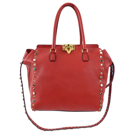 Valentino Red Leather Rockstud Rolling Trapeze Tote Bag
