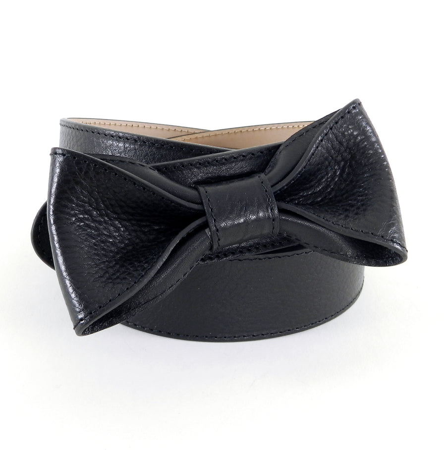 Red Valentino Black Leather Bow Belt